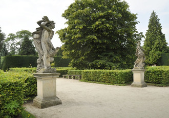 Sculptures in the French garden